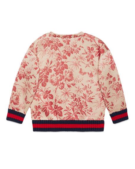 Floral Web-Trim Pullover Sweatshirt, Romantic Cerise, Size 4-12