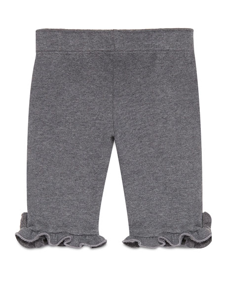 Ruffle-Trim Melange Track Pants, Gray/Red, Size 6-36 Months