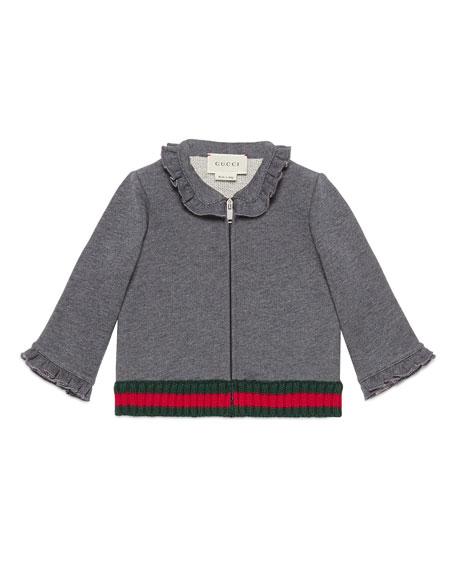 Long-Sleeve Cotton Zip-Front Sweatshirt, Medium Gray, Size 6-36 Months