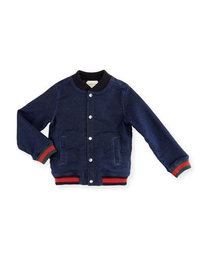 Ribbed-Trim Chambray Jacket, Indigo/Blue, Size 6-36 Months