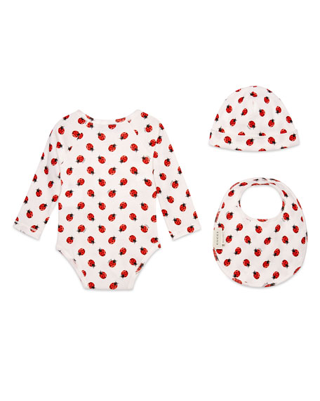 Ladybug Layette Set, White/Red/Black, Size 3-24 Months
