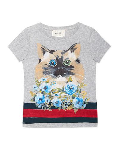 Short-Sleeve Cat Jersey Tee, Gray, Size 4-12