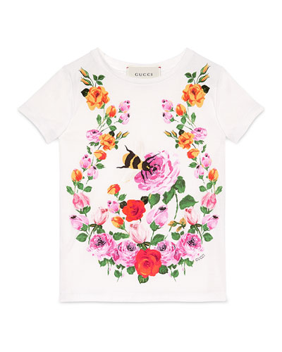 Short-Sleeve Flower & Bee Jersey Tee, White/Multicolor, Size 4-12