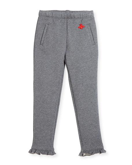 Heathered Cotton Track Pants, Gray, Size 4-12