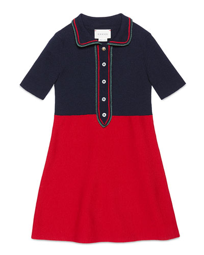 Short-Sleeve Colorblock Wool-Blend Dress, Red/Navy, Size 4-12