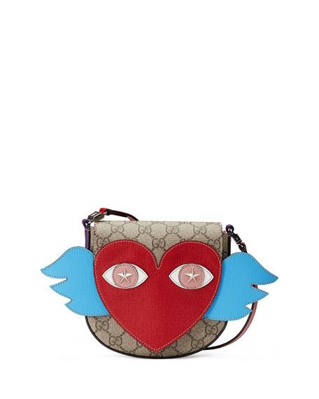 e36ac3cc61d7 Gucci Girls' GG Supreme Flying Heart Messenger Bag, Beige