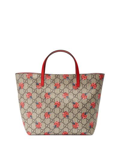 Girls' GG Supreme Ladybug Tote Bag, Beige
