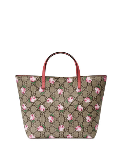 Girls' GG Supreme Roses Tote Bag, Beige