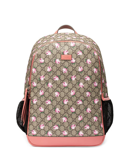 Image 1 of 1: Classic GG Supreme Rose Backpack Diaper Bag, Beige