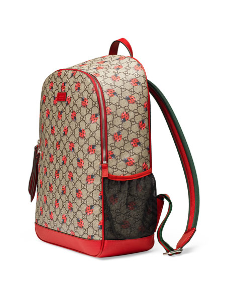 ff525acdb02f6b Gucci Classic GG Supreme Ladybug Backpack Diaper Bag, Beige