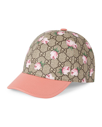 Girls' GG Rose Baseball Cap, Mahogany/Pink