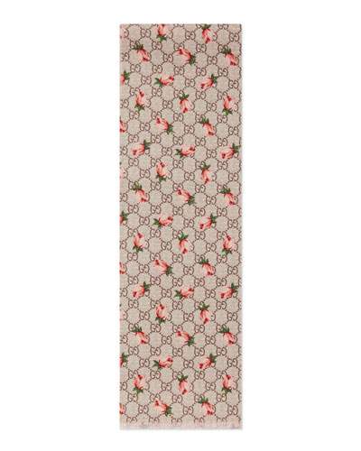 Girls' Rose-Print Wool Logo Scarf, Beige/Pink