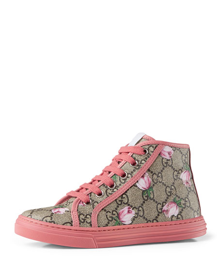 Gucci California GG Supreme Printed High-Top Sneaker, Pink,