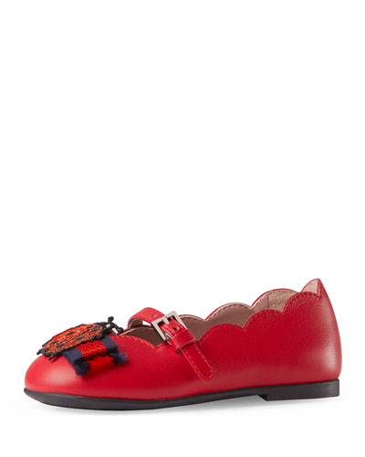 Elle Scalloped Leather Mary Jane, Red, Toddler