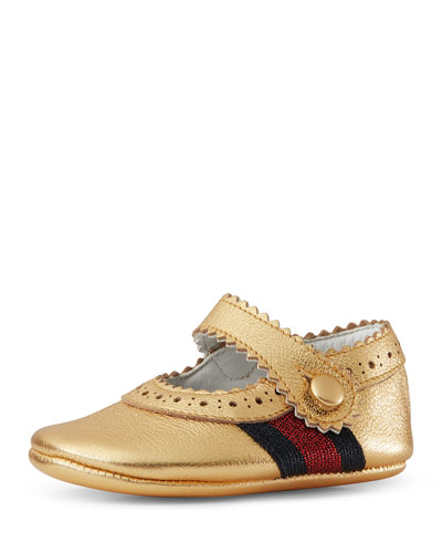 Baby Lila Leather Mary Jane, Gold, Infant