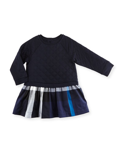 Orlia Long-Sleeve Quilted Combo Dress, Navy, Size 12M-3