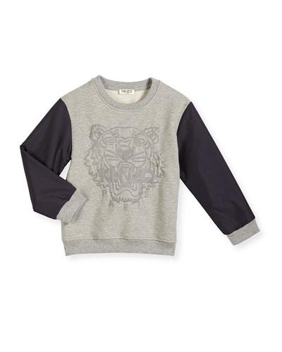 Slub Colorblock Sweatshirt, Twisted Gray, Size 4-6