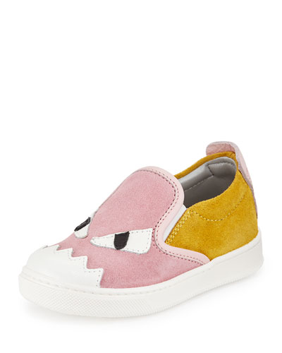 Suede Monster Slip-On Sneaker, Pink/Yellow, 8T-9T