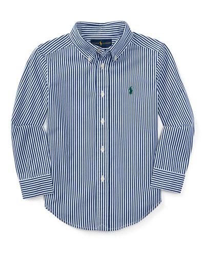 Striped Cotton Poplin Sport Shirt, Size 2-7