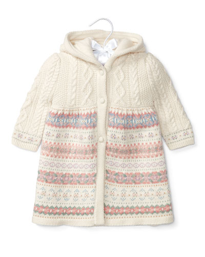 Hooded Cable-Knit & Fair Isle Sweater, Cream, Size 3-24 Months