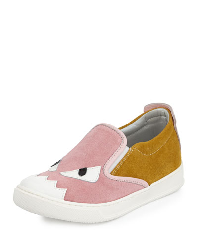 Suede Monster Slip-On Sneaker, Pink/Yellow, Toddler