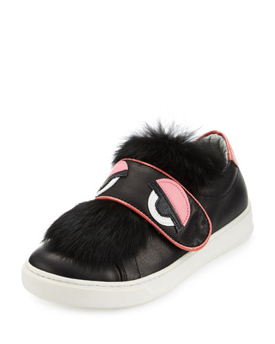 Leather Fur-Trim Monster Sneaker, Black, Toddler