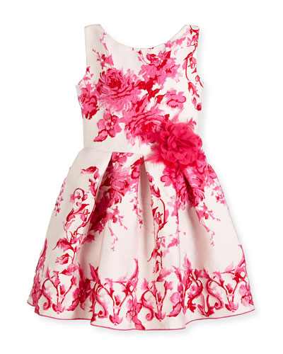 Sleeveless Pleated Floral Jacquard Dress, Pink, Size 7-16