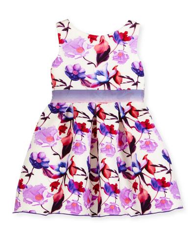 Sleeveless Floral Burnout Scuba Dress, Purple/White, Size 2-6