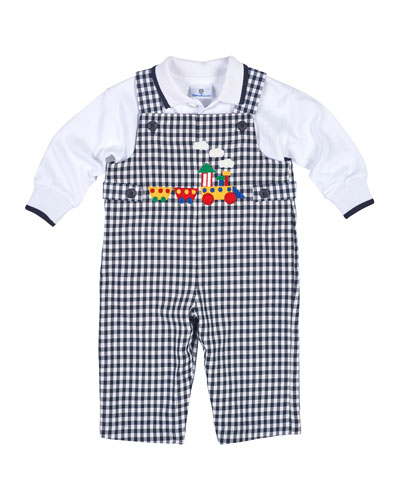 Gingham Train Overalls w/ Polo Shirt, Navy/White, Size 6-24 Months