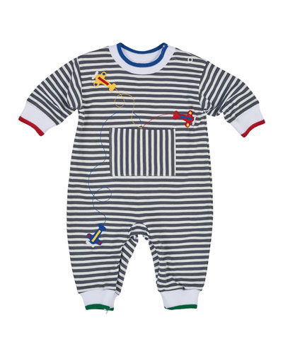 Striped Plane Coverall, Gray/White, Size 6-18 Months