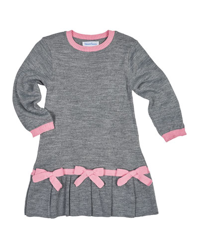 Long-Sleeve Pleated Sweaterdress, Gray/Pink, Size 2-6X