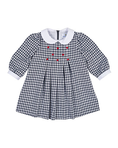 Long-Sleeve Collared Gingham Dress, Navy/White, Size 2-4