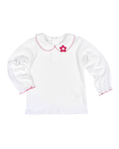 Long-Sleeve Collared Jersey Blouse, White/Fuchsia, Size 4-6