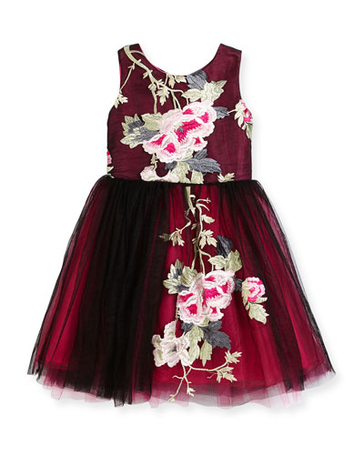 Sleeveless Floral Embroidered Tulle Dress, Black, Size 2-6