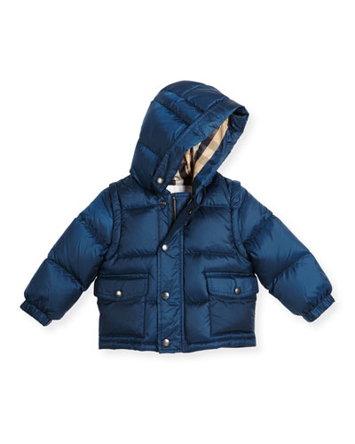 Bensen Hooded Down Puffer Coat, Ink Blue, Size 6M-3
