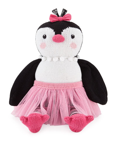 Girls' Knit Penguin Doll, Black