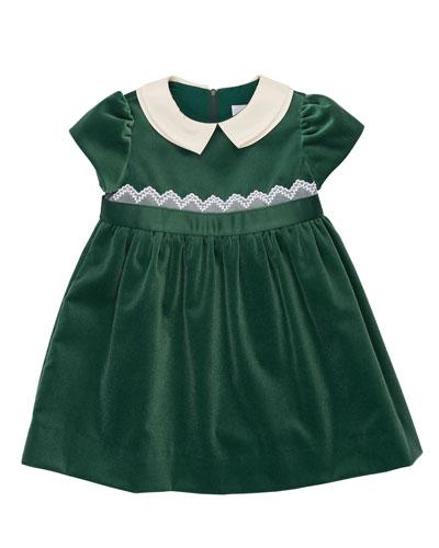 Cap-Sleeve Collared Velour Dress, Green, Size 2-6X