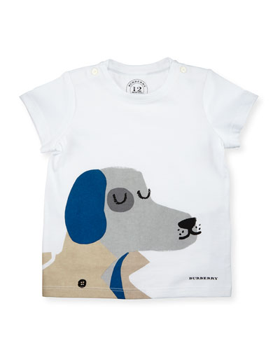 Short-Sleeve Dog Jersey Tee, White, Size 6M-3Y