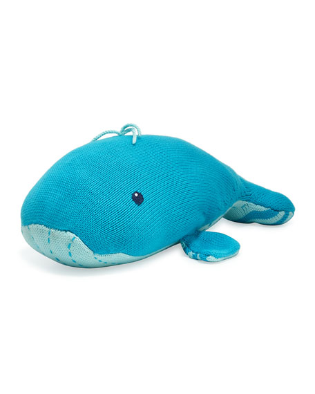 Hand-Knit Plush Whale, Blue
