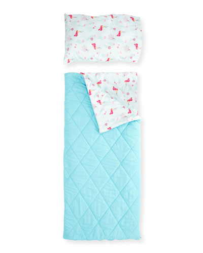 Girls' Sleeping Bag Set, Aqua/Fuchsia