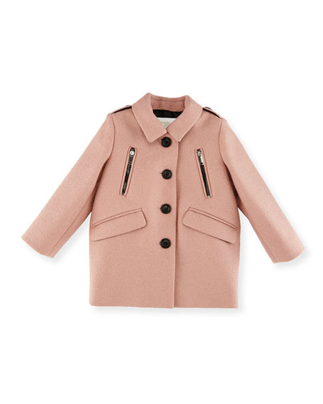 Gwen Wool Button-Front Peacoat, Pale Ash Rose, Size 6M-3Y