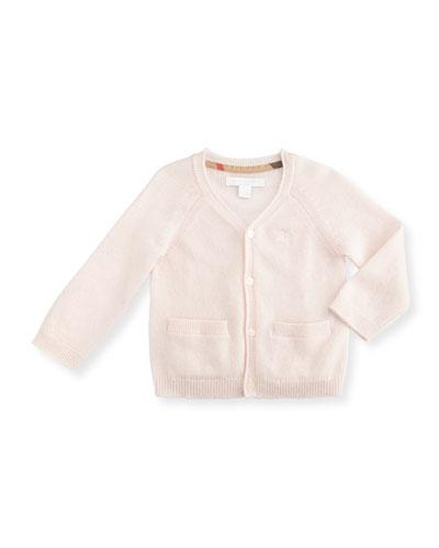 Ellon Button-Front Cashmere Cardigan, Powder Pink, Size 3-24 Months