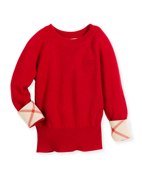 Burberry Georgey Cashmere Check-Cuff Pullover Sweater, Parade