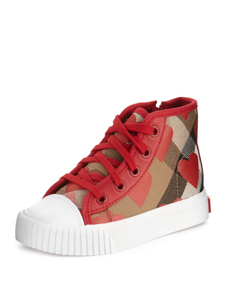 Warslow Heart-Print Check High-Top Sneaker, Youth