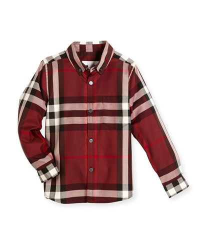 Fred Mini Long-Sleeve Check Shirt, Claret, Size 4-14