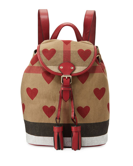 86923cbdaa9b Burberry Girls  Check   Heart Backpack