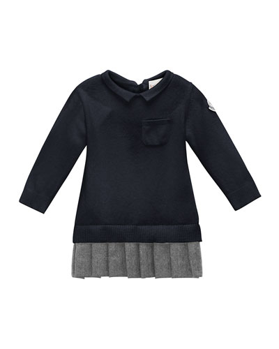 Long-Sleeve Collared Sweaterdress, Navy, Size 6M-3