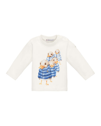 Long-Sleeve Stretch Jersey Duck Tee, White, Size 12M-3