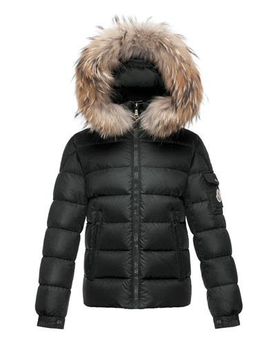 Byron Hooded Short Down Parka, Black, Size 8-14
