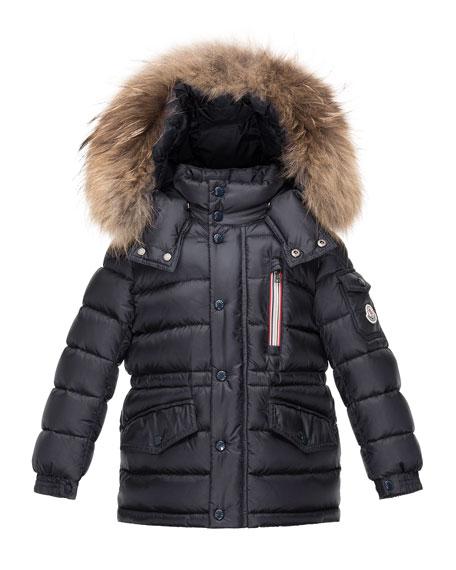 Moncler Boys' Lilian Hooded Puffer Coat, Navy, Size